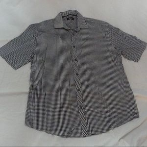 ALFANI Regular Fit B&W Gingham SS Button-up Shirt
